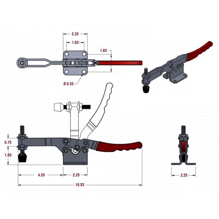 LL_20235 Toggle clamp, Horizontal Handle Front mount Push (cross ref 235-U)