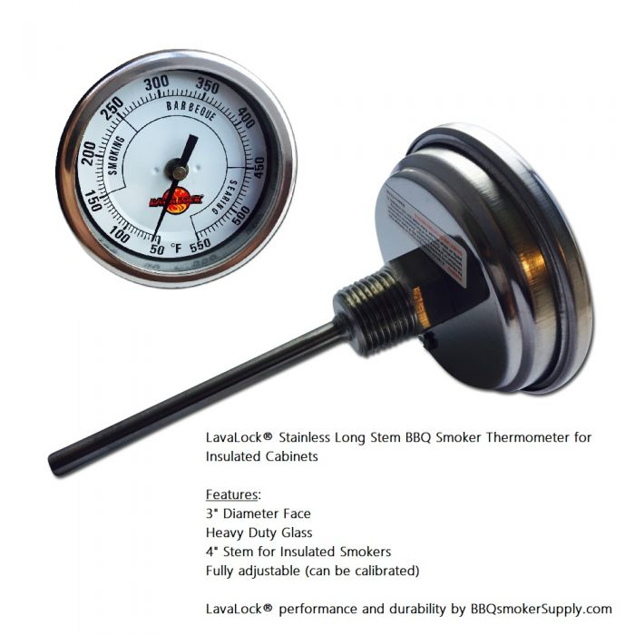 LavaLock®  INSULATED CABINET 3 inch Smoker Thermometer 4