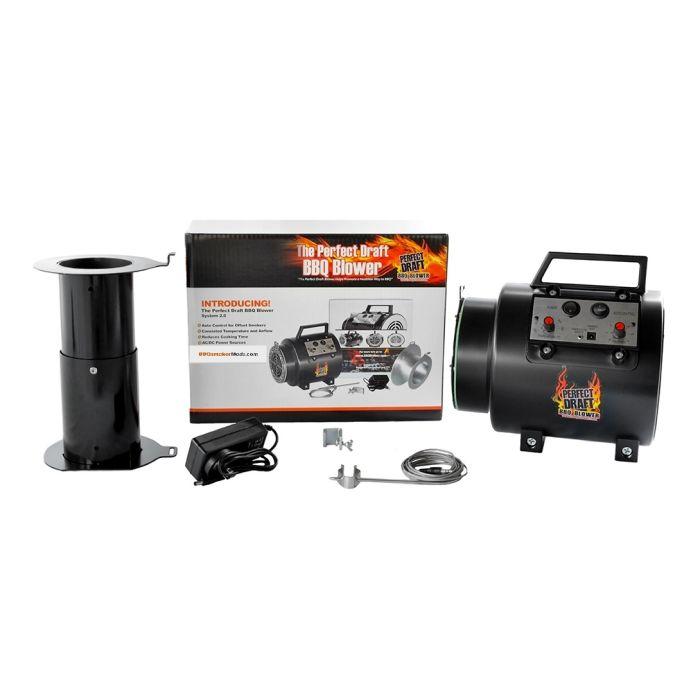 Perfect Draft BBQ Blower Fan & Adapter Set for Offset smoker pits